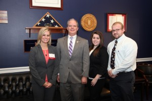 Congressman Brett Guthrie (R-KY) talks with student pharmacists (from left) Cassie Stewart of West Virginia University, Morgantown, and Katie Oliver and Brian Hancock of University of Charleston, W.Va., about the Pharmacy and Medically Underserved Areas Enhancement Act (H.R. 592).