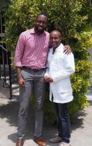 Dr. Qawiy poses with nurse Birhanu Moges.